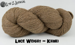Khaki Lace Weight Alpaca Yarn from A to Z Alpacas - Made in Canada!
