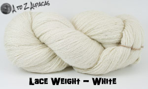 White Lace Weight Alpaca Yarn from A to Z Alpacas - Made in Canada!