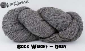 Gray Sock Weight Alpaca Yarn from A to Z Alpacas - Made in Canada!