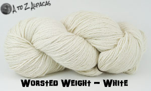 White Worsted Weight Alpaca Yarn - Made in Canada